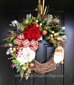 ON SALE Christmas Wreath for Front Door, Christmas Door Wreaths, Front door wreath, Grapevine Door Wreath, Santa Wreaths - $157.45 USD