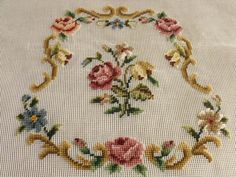 Vtg 23x23 PREWORKED Needlepoint Canvas by Magnoliawonderworld, $19.99