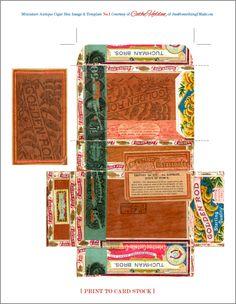 Mini Cigar Box Template by Cathe Holden JustSomethingIMad. Cigar Box Art, Vintage Cigar Box, Cigar Boxes, Paper Toys, Paper Crafts, Diy Crafts, Printable Box, Printable Vintage, Pillow Box