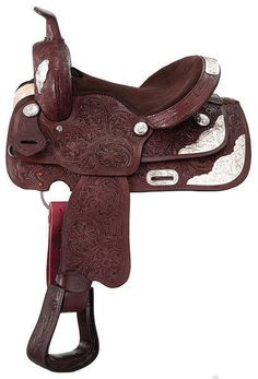"10"" Dark Oil Show Saddle- Floral Tooling (Loaded with Silver) by Royal King #RoyalKing"