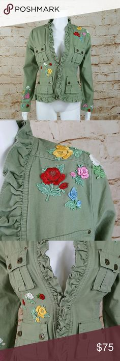 """Anthropologie Nick & Mo embroidery detail jacket Love this light weight jacket! Perfect back to school jacket! Excellent condition no flaws Anthropologie embroidered flowers and cargo pockets with buttons and ruffled hem. Vintage inspired single button closure 19"""" across from armpit to armpit and 24"""" long from shoulder to hem when buttoned Anthropologie Jackets & Coats"""