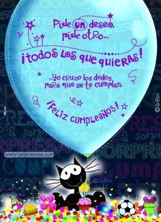 Gato Morfeo con cupcake de cumpleaños rodeado de regalos y confeti© ZEA www.tarjetaszea.com