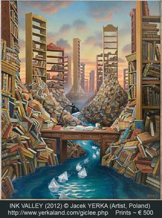 """INK VALLEY (2012) © Jacek YERKA (Artist, Poland). Fantasy book art. Re-pinned by Dew Pellucid, author of """"The Sound & The Echoes""""; http://thesoundandtheechoes.com"""
