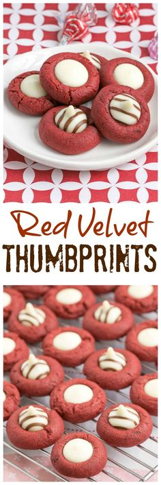 Red Velvet Thumbprints | Buttery red velvet cookies topped with white chocolate @lizzydo