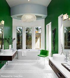 Always looks amazing with white  #emeraldgreen #homedecor #bathrooms #interiordesign