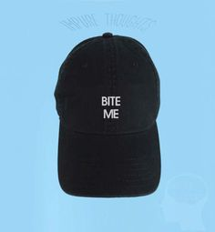 baa941f3 Items similar to BITE ME Dad Hat Embroidered Baseball Cap Low Profile  Casquette Strap Back Unisex Adjustable Cotton Black Baseball Hat on Etsy