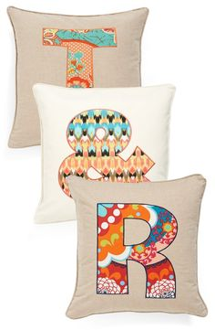 Using these 'letter' accent pillows to brighten up the living room.
