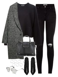 Untitled#3393 by fashionnfacts on Polyvore featuring T By Alexander Wang, Violeta by Mango, Yves Saint Laurent, Balenciaga and Prada