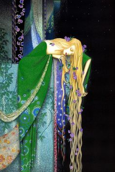 Toshiaki Kato: Rapunzel idea statue upon a castle edge - comes to life
