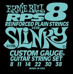 Ernie Ball 2238 RPS-8 Slinky Nickel Wound .008 - .038 by Ernie Ball. $4.47. A patented winding of bronze wire is tightly wrapped around the lock twist of the ball end. String slippage and breakage are minimized at the ball end where these most often occur. RPS strings last longer and stay in tune better than conventional plain strings.. Save 54% Off!
