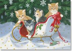 Let it Snow – Kittens in miniature holiday sleigh decoration filled with lively kittens under a Christmas tree decorated with white snowflake ornaments by Persis Clayton Weirs Christmas Scenes, Christmas Pictures, Christmas Fun, Xmas, Christmas Kitten, Christmas Animals, Vintage Christmas Cards, Vintage Holiday, Decoupage