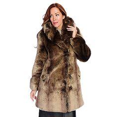 724-717 - Pamela McCoy Black Diamond Tissavel Taupe Chinchilla Faux Fur Oversized Collar Hook Front Jacket