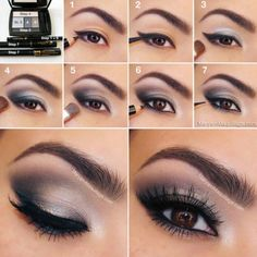 Instructions eye make-up in dark gray and purple . Instructions eye make-up in dark gray and purple tones Eyeshadow For Brown Eyes, Best Eyeshadow, Makeup For Brown Eyes, Silver Eyeshadow, Eyeshadow Makeup, Mac Makeup, Silver Makeup, Eyeshadow Guide, Makeup Brushes