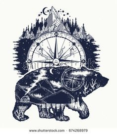 Bear grizzly silhouette t-s… Bear double exposure, compass, mountains tattoo art. Natur Tattoos, Kunst Tattoos, Body Art Tattoos, Tattoo Drawings, Tattoo Art, Ship Tattoos, Wall Tattoo, Ankle Tattoos, Henna Tattoos