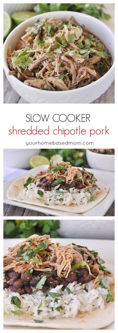 SLow Cooker shredded chipotle pork is flavorful and versatile