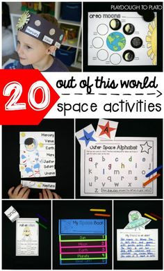 One exciting Outer Space Activity Pack! Kids are fascinated by space and these 22 science math and literacy activities take their excitement to a whole new level! Perfect for a science center or space unit with prek and kindergarten kids! Science Experiments Kids, Science For Kids, Science Activities, Science Projects, Math Games, Counting Games, Planets Activities, Science Space, Literacy Games