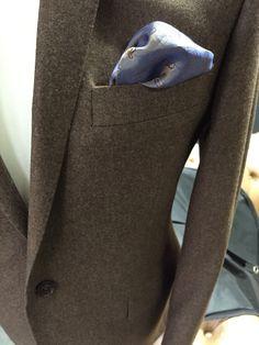 Light brown flannel blazer with baby blue under collar Melton  www.alexandrawoodbespoke.co.uk