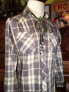 Vintage Lee Western Wear Beige Brown Plaid by TheMaineVintage