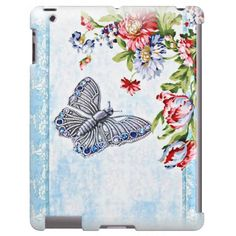 Flutter Bug Case-Mate Barely There iPad Case. Deco-style butterfly on a blue shabby background with a vintage floral corner. Very feminine. #iPad #vintage