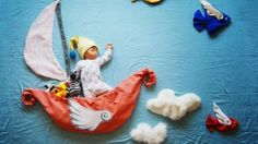 *Baby in flying Boat Ship Photo. Creative Mom Turns Her Baby's Naptime Into Dream Adventures Photography Newborn Baby Photography, Newborn Photos, Children Photography, Photography Ideas, Creative Photography, Photography Series, Funny Photography, Portrait Photography, Mother Photos