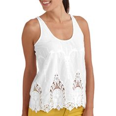 a602e30118d54 Juniors Sleeveless Peasant Top with Lace Detail - Walmart.com