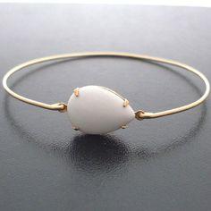 White Bangle Bracelet Nadja White Stone Bangle by FrostedWillow