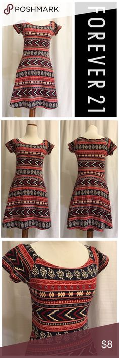 """•NWT• Forever 21 Dress. Size Medium •NWT• Forever 21 Dress Size: Medium Color: Red/Cream/Navy Blue  As shown in pic 5, approximate length is 31"""" long.   This dress has been in my storage and therefore it has a slight musty smell.   Please message me if you have any questions or need more information on this dress. Forever 21 Dresses"""