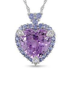 White Gold Purple Tanzanite Heart Pendant Necklace. This is so pretty!