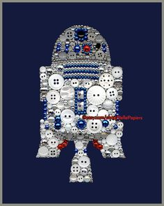 Button Art Star Wars R2D2 Button Canvas Star Wars Decor Swarovski Crystals Boys Room Sign May the force be with you the force is strong with