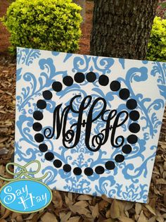 This custom monogram painting would be great in a bedroom or office! Love the toile! Cute Crafts, Crafts To Do, Arts And Crafts, Canvas Crafts, Diy Canvas, Painted Canvas, Canvas Ideas, Monogram Painting, Monogram Canvas