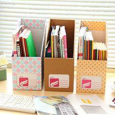 Creativos de corea oficina de papel Kraft caja de almacenamiento de libros de la biblioteca y revista y de documentos organizador cuadro de almacenamiento organizadores organizador(China (Mainland))