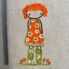 Orange girl in green wellies by Lili Popo Hand Embroidery Stitches, Embroidery Applique, Cross Stitch Embroidery, Embroidery Patterns, Machine Embroidery, Sewing Art, Sewing Crafts, Sewing Projects, Green Wellies