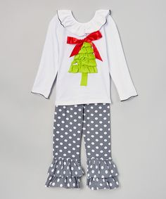 Look at this Gray Tree Ruffle Top & Dot Pants - Infant, Toddler & Girls on #zulily today!