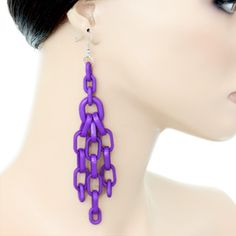 Purple Long Drop Chain Link Earrings | eBay