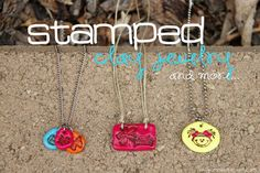 Stamped clay jewelry (or keychains or gift tags!!) www.makeit-loveit.com #crafts #diy #jewelry