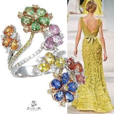 @zorabcreation. This multi-colored #diamonds And #sapphire Flourish Ring captures nature's true beauty.  This #original #zorab #masterpiece is embellished with 0.25 carats of  #Fancy#diamonds and 6.35 carats of #multi #Sapphire. Available on 1stdibbs.com.