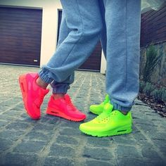 To cute his and hers Nikes! Love Hot pink & green