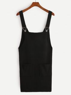 Black Knit Overall Dress With Pockets