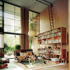 The home of Charles and Ray Eames.  Just saw the recreation of this living room at LACMA.  So cool!