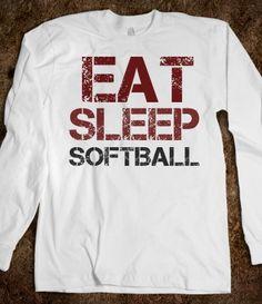 Eat Sleep Softball long sleeve tee t shirt