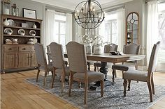 Ashley Dining Room Table And Chairs Furniture Dining Table, Upholstered Dining Chairs, Home Furniture, Furniture Ideas, Adams Furniture, Furniture Buyers, Style At Home, Dining Room Sets, Dining Room Table