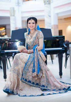 Pakistani couture. Gold & blue wedding dress