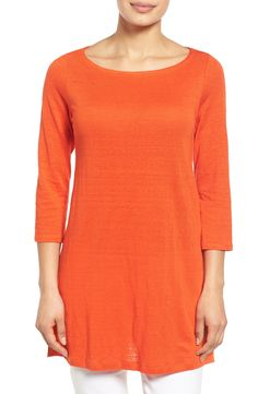 Free shipping and returns on Eileen Fisher Bateau Neck Organic Linen Tunic (Regular & Petite) at Nordstrom.com. A graceful A-line shape with breezy side slits defines a staple tunic in a lightweight knit of soft and breathable organic linen.