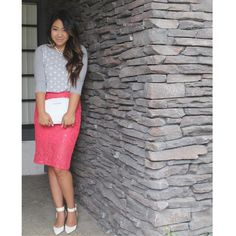 Coral lace pencil skirt on the blog today: www.tiaalesewong.com