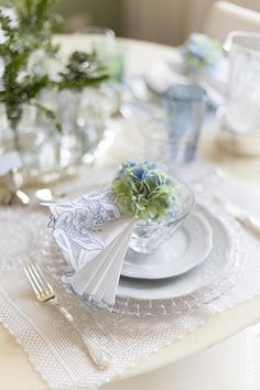 Raindrops and Roses Place Settings, Table Settings, Nantucket Wedding, Raindrops And Roses, Ladies Luncheon, White Cottage, Cottage Style, Blue Hydrangea, Hydrangeas