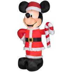 10.5 Mickey with Candy Cane Inflatable.  Hey Disney Fans... What a great way to decorate your yard this Holiday Season.  Supersize  your Christmas Inflatable Decorations with this Disney Mickey Holiday inflatable.