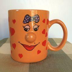 Funny Face Love 3D Protruding Nose Orange Coffee Tea Mug Cup Hearts Emoticon