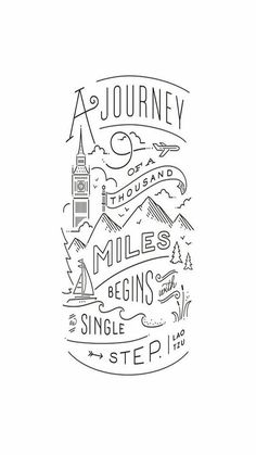 """Journey of a thousand miles"" - Graphic Art Print by Jennifer Wick. - - ""Journey of a thousand miles"" – Graphic Art Print by Jennifer Wick. Quotes Journey of a thousand miles Art Print by Jennifer Wick The Words, Art Quotes, Inspirational Quotes, Drawn Quotes, Tattoo Quotes, Doodle Quotes, Moon Quotes, Quote Art, Quote Life"