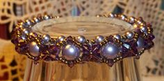 Swarovski Pearl and Crystal Woven Bracelet in Mauve by BeBoDesigns, $28.00