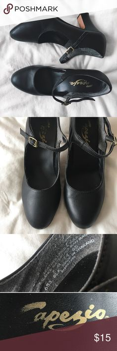 Capezio Manhattan Character Tap Shoes A nice pair of soft, supple black leather dance heels. Foam cushioned insoles, smooth folded edge topline with buffed leather soles. Great for those of you who love to ballroom dance or tap dance. The heels are a bit worn, but can be easily repaired.   Heels 2 1/2in Capezio Shoes Heels